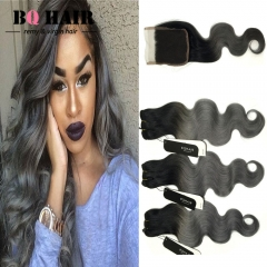BQ HAIR 8A Factory Supply Directly Peruvian Body Wave Virgin Hair 3 Bundles and 4*4 Lace Closure 1b dark grey 12 inch lace closure
