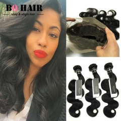 BQ HAIR 8A Malaysian Body Wave Remy Human Hair Weaves 3 Bundles 10 to 28 Inches and 360 Lace Frontal natural black 14 14 14 +12