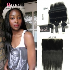 BQ HAIR 8A Straight Brazilian Lace Frontal 13x4 Size with 3 Bundles 100% Human Hair Ear to Ear natural black 12 12 12 +10