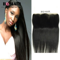 BQ HAIR 8'-22' 13*4 Lace Frontal 8A Remy 100% Virgin Brazilian Human Straight Hair Weave natural black 10 inch lace frontal