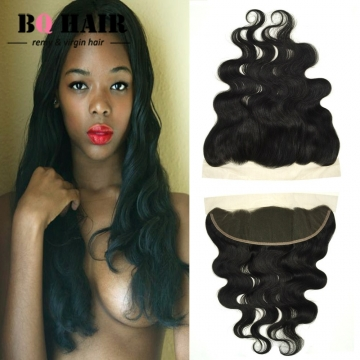 "BQ HAIR Grade 8A 100% Unprocessed Virgin Hair Body Wave Style 13*4 Lace Frontal Human Hair (10""~22"") natural black 16 inch lace frontal"