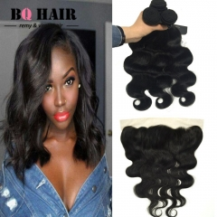 BQ HAIR 8A Remy 100% Virgin Human Hair Body Wave Hair Weave Extension 100g/pc with 13*4 Lace Frontal natural black 12 12 12 +10