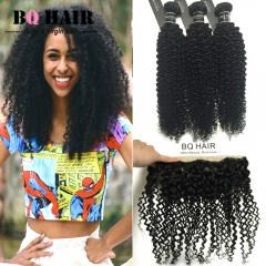 BQ HAIR 8A 100% Human Hair Brazilian Remy Hair Kinky Curly Extension 3pcs/300g and 13*4 Lace Frontal natural black 10 10 10 +10
