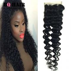 BQ HAIR Grade 8A 100% Unprocessed Virigin Hair Deep Wave Style 4*4 Lace Closure Human Hair (10