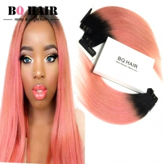 BQ HAIR Grade 8A Brazilian Virgin Hair 100% Human Hair Weave Straight Like Silk 3pcs 100g/pc 1b-rose gold 10 10 10