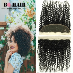 "BQ HAIR 8A Kinky Curly 13*4 Lace Frontal Peruvian Human Hair Ear to Ear 100% Virgin Hair (10""~22"") natural black 10 inch lace frontal"