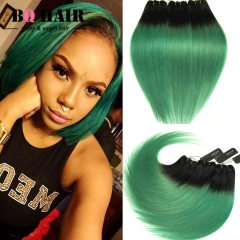 BQ HAIR Grade 8A Brazilian Virgin Hair 100% Human Hair Weave Straight Like Silk 3pcs 100g/pc 1b-green 10 10 10