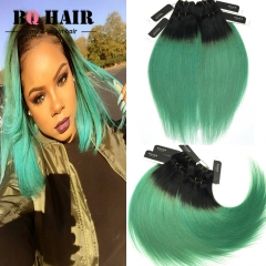 BQ HAIR 10'-18' 8A Remy 1B-Green Ombre Straight 100% Virgin Brazilian Human Hair Weave 400g/4pcs 1b-green 10 10 10 10