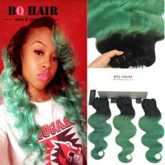 BQ HAIR Ombre 8A Remy Hair 100% Brazilian Virgin Human Hair Body Wave 3 Bundles Extension 100g/pc 1b-green 10 10 10