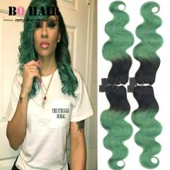 BQ HAIR Grade 8A Ombre 1b-Green 4 Pieces Brazilian Virgin Hair Body Wave Hair Weaves 100g/pc 1b-green 10 10 10 10