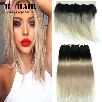 BQ HAIR 8A Ombre Color New Arrival Straight 100% Virgin Human Hair and 13*4 Lace Frontal Ear to Ear 1b-light grey 12 inch 360 lace frontal