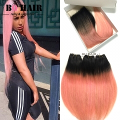 BQ HAIR 8A Grade Brazilian Virgin Human Hair Lace Closure Straight Ombre Color and 3 Bundles 1b-rose gold 12 inch lace closure