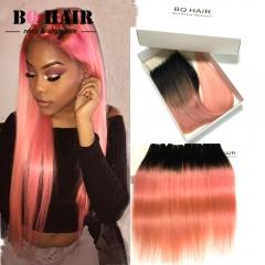 BQ HAIR Grade 8A Brazilian Hair Lace Closure with 4 Bundles Straight 100% Virgin Human Hair 1b-rose gold 10 10 10 10 +12