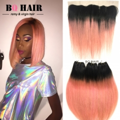 BQ HAIR 8A 100% Human Hair Brazilian Remy Hair Straight Extension 3pcs/300g and 13*4 Lace Frontal 1b-rose gold 12 inch 360 lace frontal