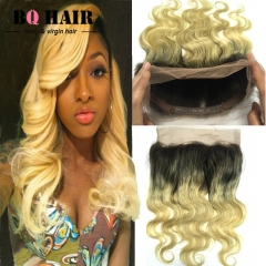 BQ HAIR 8A 1B-613 360 Lace Frontal Closure Brazilian Ombre Human Hair Pieces Body Wave (10