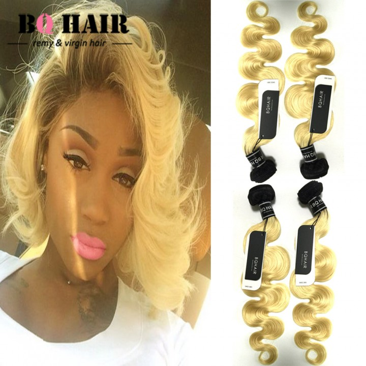 "BQ HAIR 8A #1B/613 Brazilian Virgin Body Wave Human Hair Extensions Weft (10""~24"") 1b-613 16 16 16"