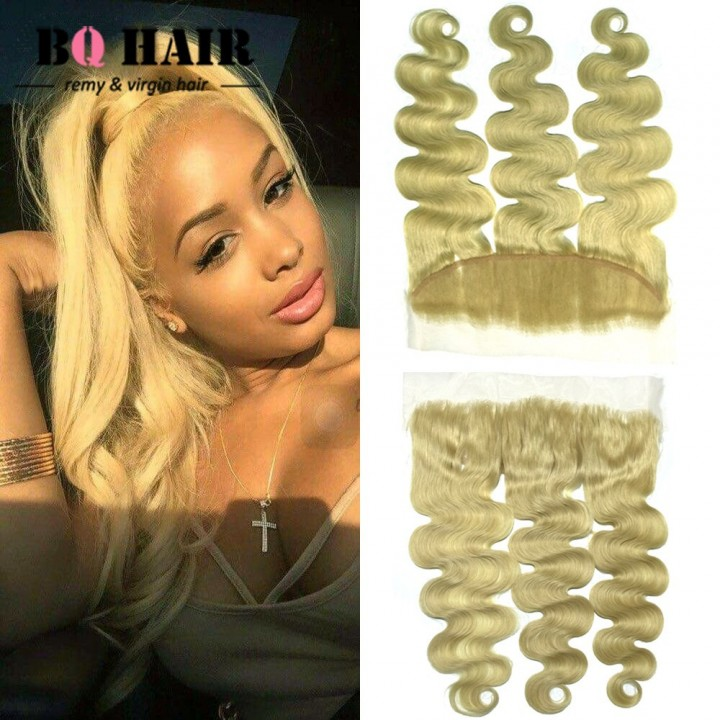 "BQ HAIR Grade 8A 13*4 Lace Frontal Blonde #613 Body Wave Brazilian 100% Virgin Human Hair (10""~22"") #613 10 inch lace frontal"
