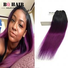 "BQ HAIR Grade 8A New Arrival Straight 100% Brazilian Virgin Human Hair 100g/Bundle (10""~18"") 1b-purple 10 inch"