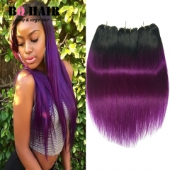 BQ HAIR 3 Pieces Brazilian Virgin Hair Straight Hair Weaves,100% Brazilian Human Hair Grade 8A 1b-purple 10 10 10