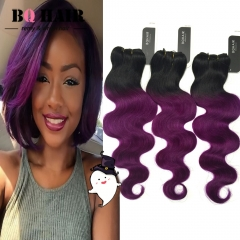 "BQ HAIR 10""-18"" Grade 8A 100% Brazilian Ombre Human Hair Body Wave Weave Extension 300g/3pcs 1b-purple 10 10 10"