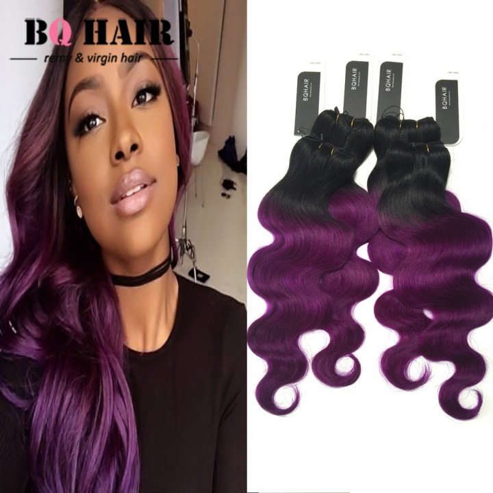 "BQ HAIR 8A Brazilian 100% Virgin Human Hair Body Wave Like Silk 4pcs/400g Full Head Set 10""~18"" 1b-purple 10 10 10 10"