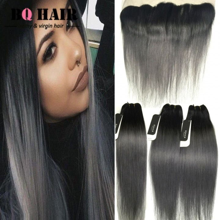 BQ HAIR 8A Ombre Color High Quality Brazilian Human Hair Pre-Plucked Lace Frontal and 3Bundles/300g 1b dark grey 10 12 12 +12