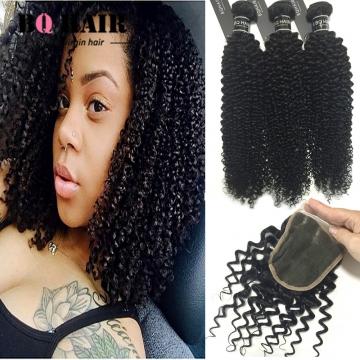 BQ HAIR 3pcs Virgin Hair Burmese Kinky Curly Extension Human Hair Weave with 4*4 Lace Closure natural black 10 12 14 +10