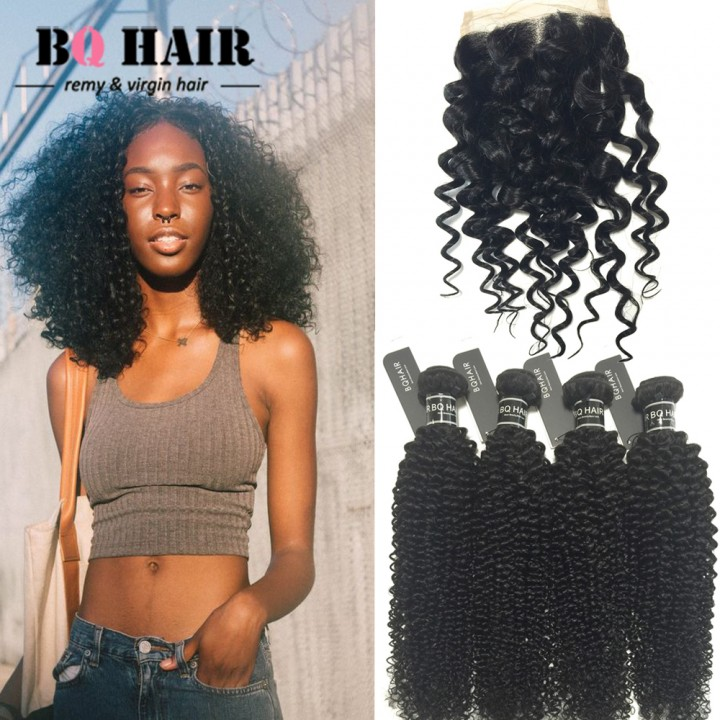 BQ HAIR 4Bundles/400g Unprocessed Human Hair Weave Kinky Curly Full Head Set with 4*4 Lace Closure natural black 12 14 16 18 +10