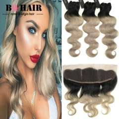 BQ HAIR 8A Ombre Color Body Wave 3 Bundles and 13*4 Lace Frontal New Arrival 1b-light grey 10 10 10 +12