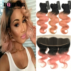 BQ HAIR Grade 8A Ombre Color 3 Bundles and 12 inch Body Wave Lace Frontal 1b-rose gold 12 inch lace frontal