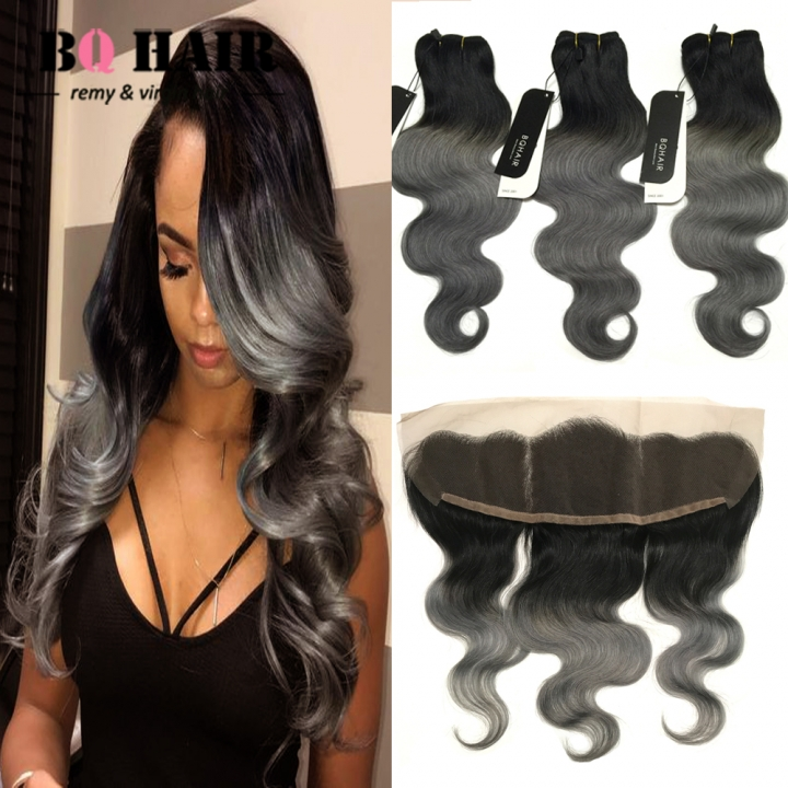 BQ HAIR 8A 100% Human Hair Brazilian Virgin Hair 3pcs/300g with Body Wave Lace Frontal 1b dark grey 12 inch lace frontal