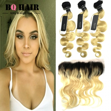 "BQ HAIR Grade 8A 1b-613 Ombre Color Dark Root 13*4 Lace Frontal Virgin Human Hair (10""~22"") 1b-613 20 20 20 +18"