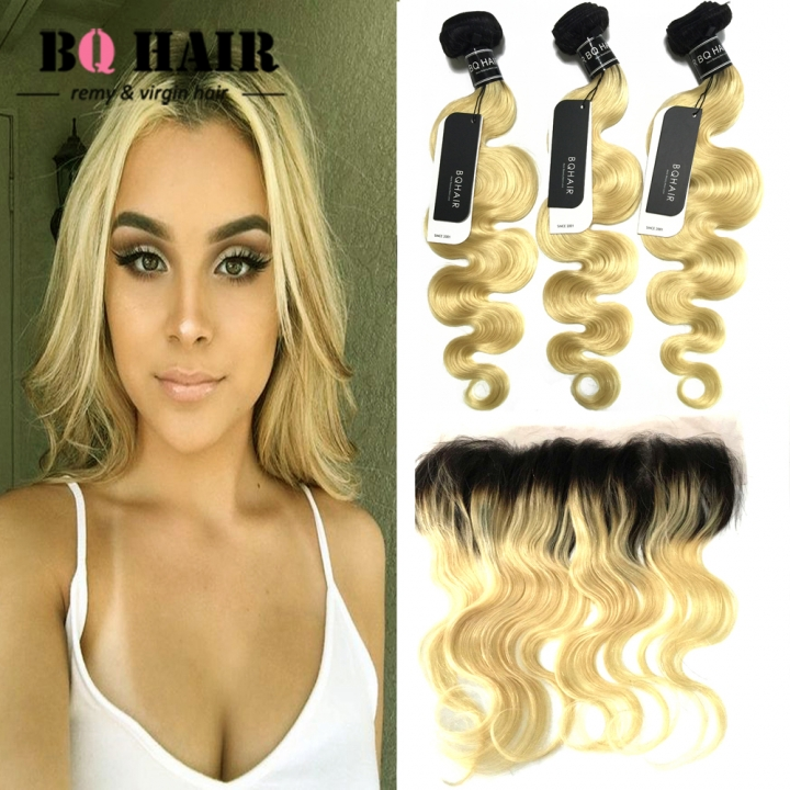 "BQ HAIR Grade 8A 1b-613 Ombre Color Dark Root 13*4 Lace Frontal Virgin Human Hair (10""~22"") 1b-613 14 14 14 +12"