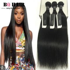BQ HAIR Grade 8A Virgin Hair Raw Indian Hair 3 bundles soft and silky straight human hair weaves nature black 10 10 10