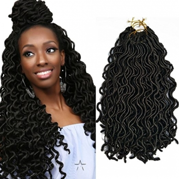 (24Roots/Pack, 72Roots /3Pack) BQ 18 Inch Goddess Curly Faux Locs Crochet Hair #1b Black 18inch/3pack