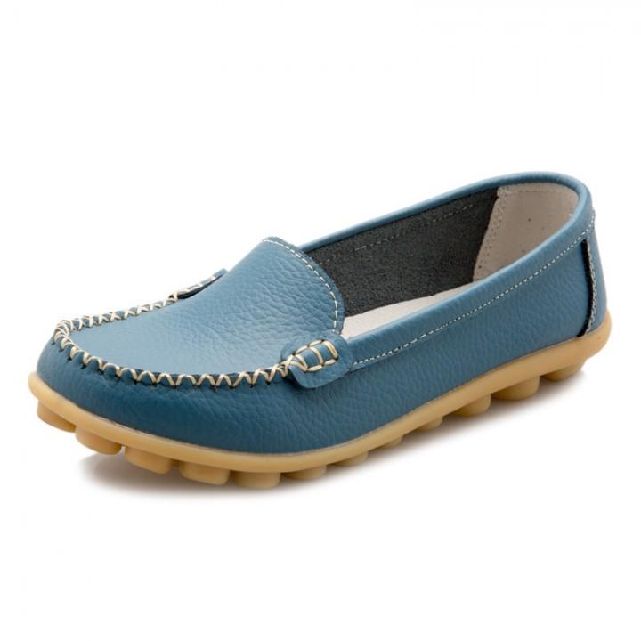 Fashion Women Flats Leather Platform Casual Shoes Spring Ladies Shoes Soft Comfortable Shoes Light Blue 40
