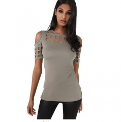 Womens Short Sleeve T-shirt Ladies Fashion Red Pink Black Hollow Out Slim  Casual Hot Tees Tops gray #01