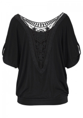 Plus Size tee shirt 5XL Hollow Out Patchwork T Shirt  xxxxl Batwing Sleeve Solid Color backless top black m