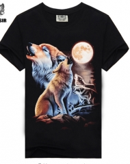 2017 Fashion Brand Men's T shirt 3D Wolf Print T shirt Summer Short Sleeve Shirts black L