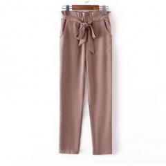 women OL chiffon high waist harem pants bow tie drawstring sweet elastic waist pockets brown M