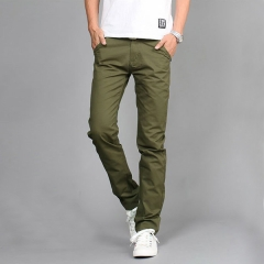 Casual Men Pants Cotton Slim Pant Straight Trousers Fashion Business Solid Khaki Black Pants amry  green 30