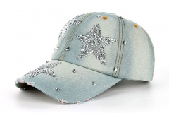 High quality JoyMay Hat Cap Fashion Leisure Cross Cap Rhinestones STAR Jean Cotton CAPS Baseball Cap light blue