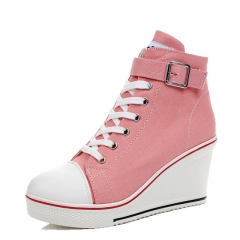 Women Wedges Causal Shoes Woman Breathable Platform White Canvas Shoes Hidden Wedge Shoe pink 42