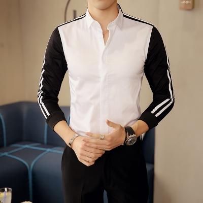 new designs long sleeve casual shirt men striped black white patchwork mens dress shirts white XL