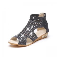 2017 Women Sandals Open Toe Ankle Boots Sandal Woman Crystal Sandalias Bling Wedges Summer Shoes black 38
