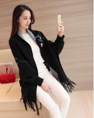 Embroidery Floral Tassel Trench Coats Cloak Long Sleeves Female Knit Cardigan Sweater Windbreaker black One size