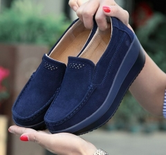 New 2017 Cow Suede Summer Breathable Swing Wedges Chaussure Femme Woman Platform Shoes dark blue 36