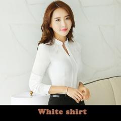 2017 Ruffle Blouse Shirt Women Blouses Plus Size Women Clothing Three-color Shirt white M