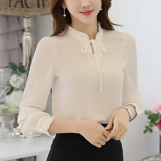 c17ee329eb7 ... Lotus Leaf Chiffon Shirt Casual Long - Sleeved Blouses 6 Colors Women  Tops beige XL  Product No  695722. Item specifics  Brand