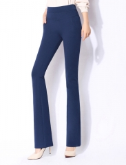 High Waist Pants Women New Fashion Spring OL Casual Flare Pant Trousers Work Pants blue L